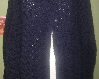 Vintage 70's 80's crochet knit navy blue shawl poncho