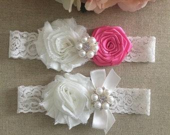 Wedding Garter - Bridal Garter - Hot Pink and Ivory Flower Garter and Toss Garter Set