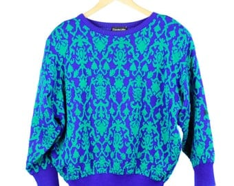Vintage 80s 90s Blue and Green Print Jumper