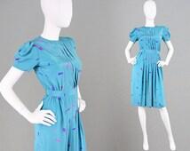 Vintage 80s Geometric Print Petite Dress X Small XS Dress Turquoise Dress Silky Dress 1980s Mini Dress 80s Party Dress Pleated Front Office