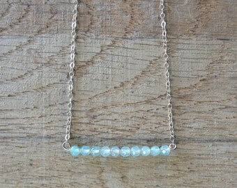 silver and Chalcedony bar necklace