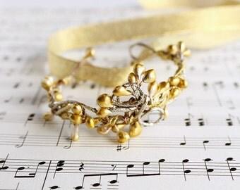 Gold Wrist Corsage, Bridal Cuff Bracelet, Bridesmaid Corsage, Vine Bracelet, Bridesmaid Gift, Gold Cuff Bracelet, Cuff Corsage, Bridal Cuff