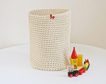 Large loundry basket, large Basket, storage box, Ivory Basket, Hand Crocheted, Storage Solutions, home decor