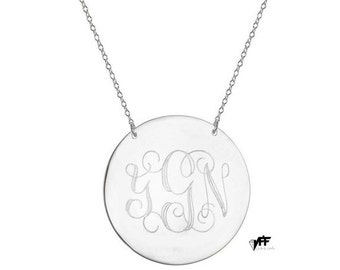 "Personalized Disc necklace - 1"" inch personalize silver monogram necklace sterling silver .925 silver"