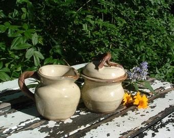 Handmade stoneware creamer and sugar set