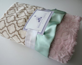 Minky Baby Blanket in Biscuit and Ivory Trellis with Embossed Baby Pink Paisley and Mint Satin Trim - Baby Girl, Crib Bedding, Nursery
