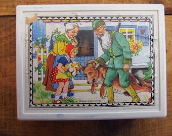 Vintage West German Wood Block Puzzle - Fairy Tale Wooden Block Puzzle