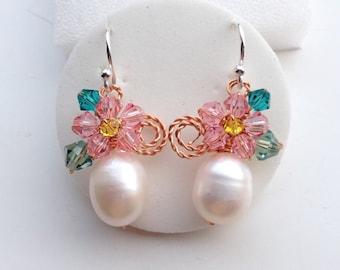 Pearl drop earrings - floral earrings - pink floral earrings