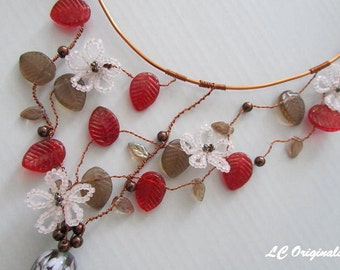 FLOWERING APPLE TREE lampwork beads wire wrapped necklace