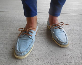 Vintage SPERRY topsider denim canvas TOP SIDER boat shoes womens size 7.5