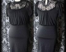 Gothic Black Lace Bib VICTORIAN GOVERNESS High Neck Wiggle Dress 6 8 Vintage
