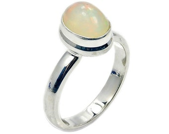 Incredible Fire Ethiopian Opal & .925 Sterling Silver Ring Size 6.5 , AD866