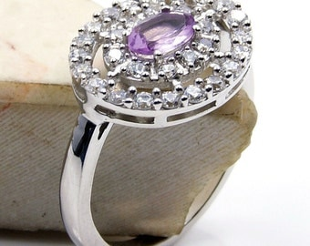 Sparkling Amethyst, CZ & .925 Sterling Silver Ring Size 7 Jewelry ,  V308