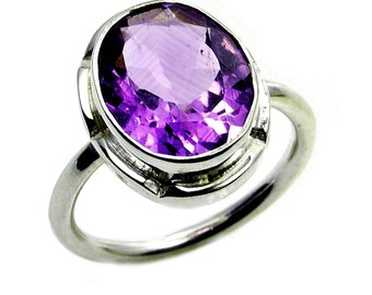 Classic Amethyst Ring & .925 Sterling Silver Ring Size 5 1/4 Jewelry , AB919