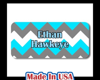 42 Dishwasher Safe & Waterproof Kids Personalized Name Label Stickers with Chevron Stripes Children Baby Bottle Daycare School Sippy Cup