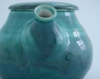 Teapot hand thrown porcelain in deep teal  glaze