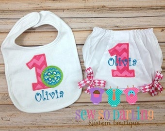 1st birthday cute as a button cake smash set - Cute as a button bib and bloomers - 1st birthday diaper cover