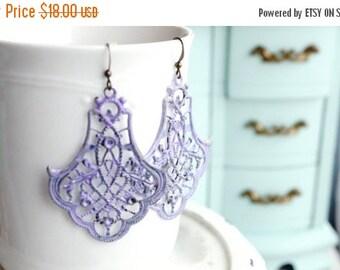 ON SALE Adelaide Earrings, Lavender patina brass filigree dangle earrings
