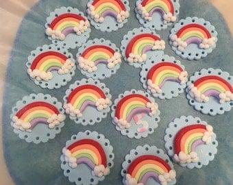 Rainbow fondant cupcake topper.