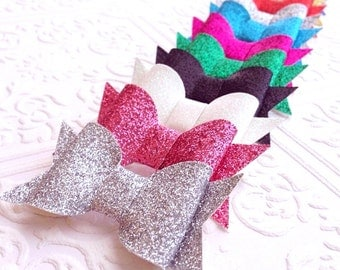 The Glitter Bow Clip or Headband- Your Color Choice