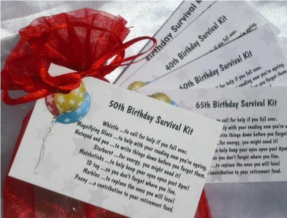 Birthday Joke Survival Kit Any age 30th 40th 50th 60th