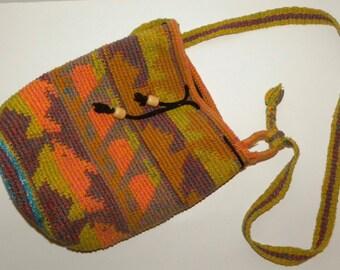 1980s 80s woven bucket bag / purse / FISH / shopper / market / tote / Boho / BAJA / Hippie / colorful