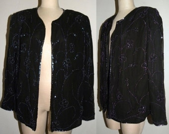 1980s 80 Evening Jacket / BLACK / Beaded / Luxe / Duster /  Glam / Vintage size  XL