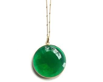 Large Gem-Stone Necklace - chalcedony - green onyx - labradorite - 14k gold-fill satellite chain