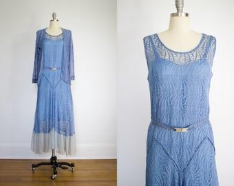 1920's Flapper Era Periwinkle Blue Dress / Matching Bolero / Rhinestone Belt / Size Large