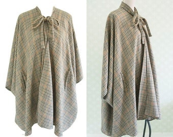 Brown Houndstooth wool vintage cape 70s. British made. British cape. Flared wool cape. Collar bow cape. Hunting cape.