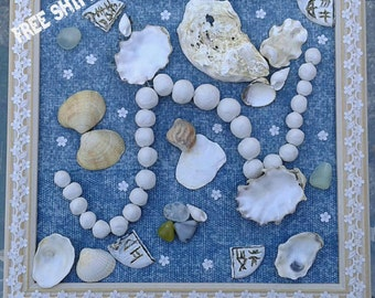 Craft painting with denim and seashells