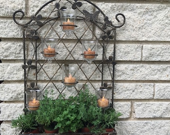 Garden Trellis with Glass Candle Holders | Home Decor | Wedding Decor | Herb Garden | Garden Decor