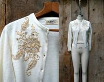 c. 1950s Tobi of California sweater + vintage 50s cream embellished cardigan