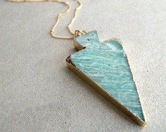 Amazonite Arrowhead Gold Necklace