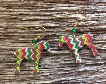 Draft horse chevron earrings: Percheron horse Christmas earrings