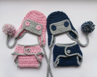 Newborn  Twins Outfits - Aviator Hat and Diaper Cover for Twins - Newborn Boy Girl Twins Outfits
