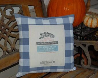 Vintage Seed Sack Pillow, Repurposed Seed Sack Pillow, 16x16 Blue Plaid