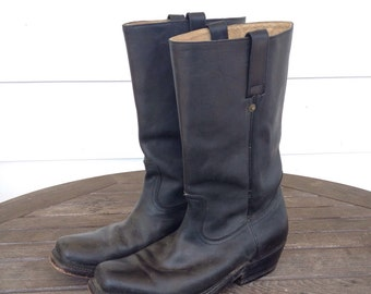 Black all leather engineer boots
