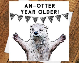 Otter birthday Card Girlfriend boyfriend partner husband wife pun cute animal funny tierliebe drawing  him her wife husband