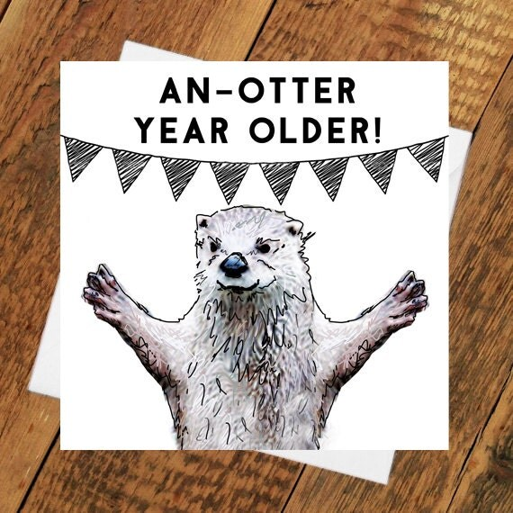 Otter Birthday Card Girlfriend Boyfriend Partner Husband Wife