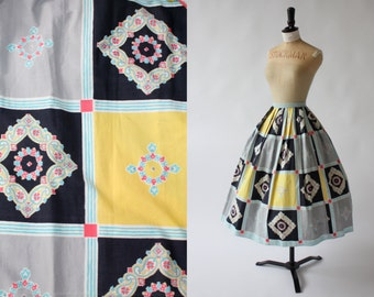 Vintage 1950s 50s novelty square print cotton skirt by Paneth London UK 6 8 XS S US 2 4