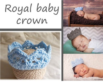 Knit Baby Crown, Crochet Royal Baby Crown, ALL COLORS Newborn Photography Prop Royal Crown Hat Prince Princess