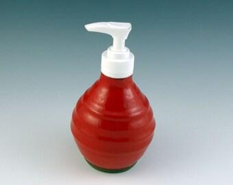 Ceramic soap dispenser, Pottery lotion pump, Stoneware soap dispenser pump, Soap pump dispenser, Kitchen soap pump, Red glaze