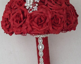 Brooch Bouquet red, dark red bridal Bouquet , red and pearl bouquet , Wine Wedding Brooch Bouquet