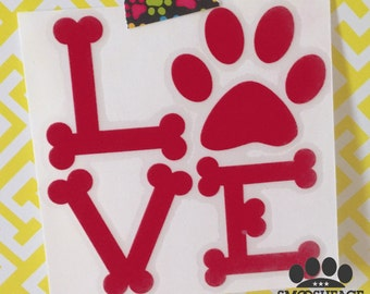 Dog decal with text LOVE - dog paw print & dog bone font - cutout sticker in color options - spread the paw love!