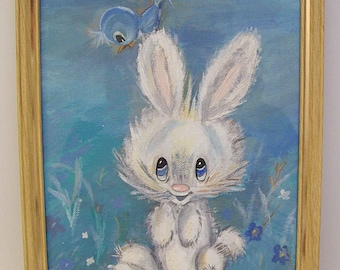 Vintage 1960's-1970's BUNNY and BIRD Acrylic Painting – Rabbit and Bird Acrylic Painting – Adorable Art – Hand Painted on Canvas - OOAK -