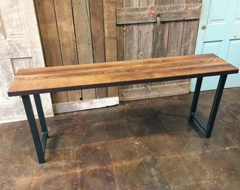 Reclaimed Wood Console Table, Industrial Entryway Table, Barn Wood Table