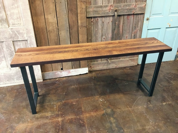Reclaimed wood console table industrial entryway barn