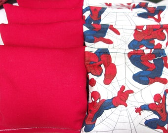 8 ACA Regulation Cornhole Bags -  Spiderman and Solid Red