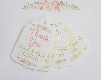 10 Personalised favour tags pastels & spring flowers